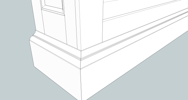Two rows of base molding are more interesting than one.