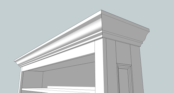 Stock crown molding wraps the top of the bookcase.