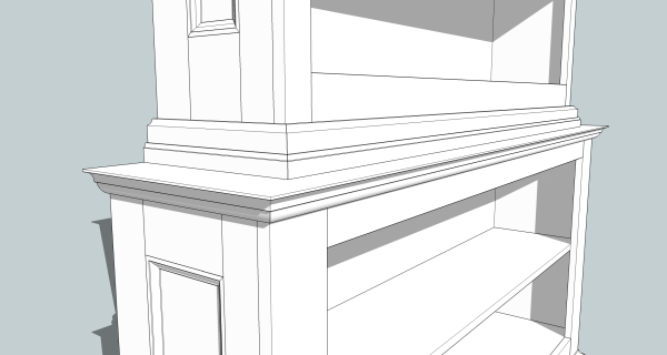 In this close-up, note the built-up moldings which add shadow lines to the project.