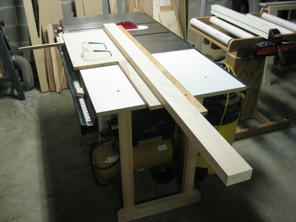 My cross-cut sled is an important table saw helper. It makes quick work of cutting this long board.