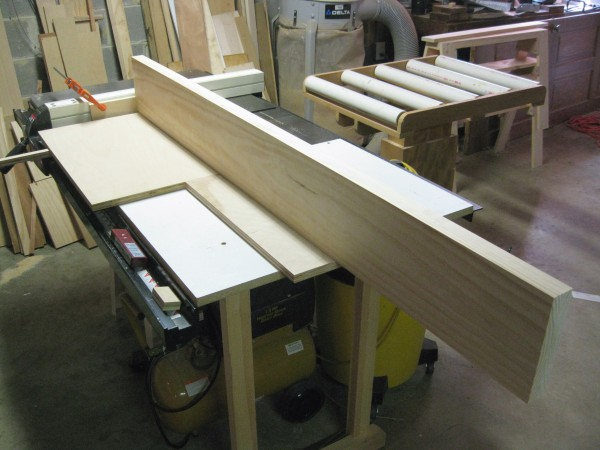 Here, I am setting up for the first tenon cuts on the large, lower cross member.