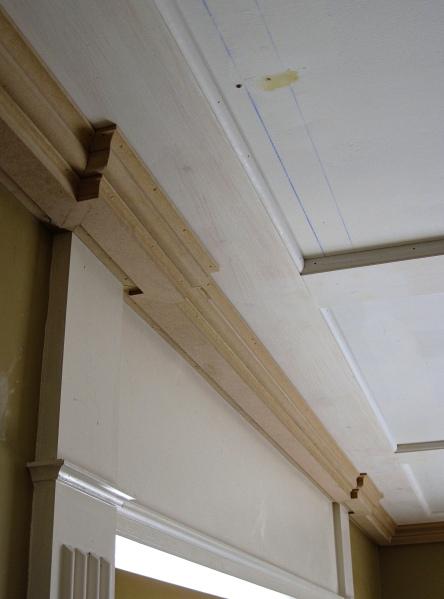 Little by little, the crown molding comes to life.