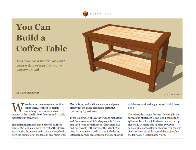wooden coffee table plan