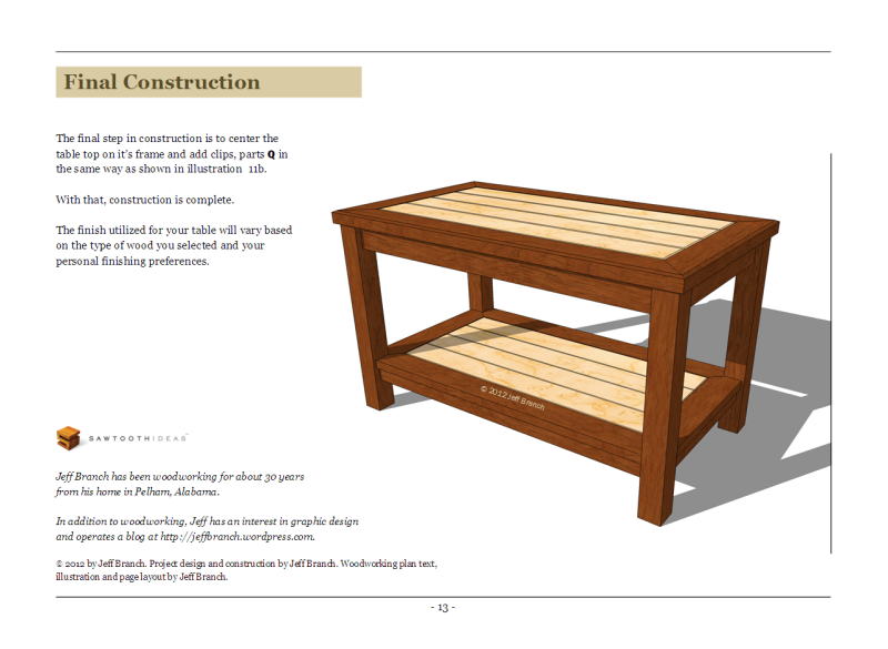 simple wood coffee table plans