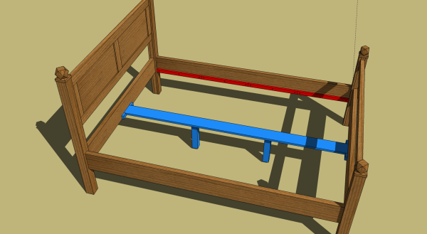 SketchUp illustration of the new bed components and changes.