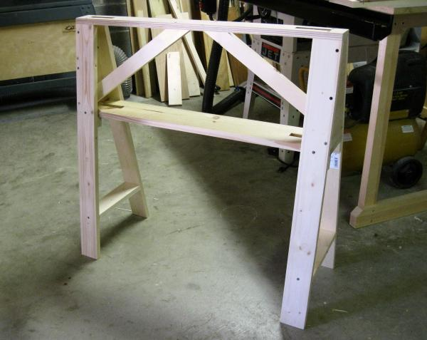 The first of a pair of Christian Becksvoort designed sawhorses 75% complete.