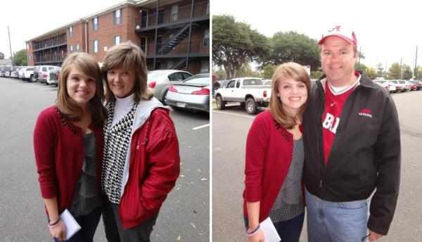 My daughter, wife and me in Tuscaloosa for a game.