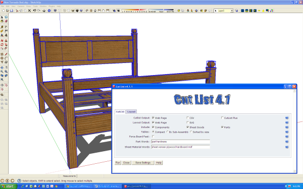Cut List 4.1 - an accessory available for SketchUp.