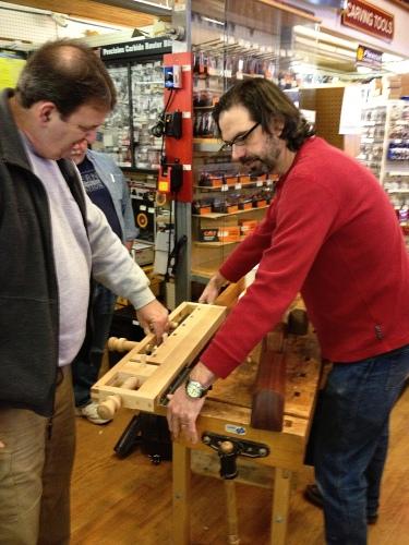 Chris Schwarz of Lost Art Press demonstrating his portable workbench.