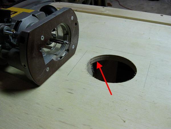 Dust port hole cut.