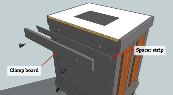The design for the router back clamp.