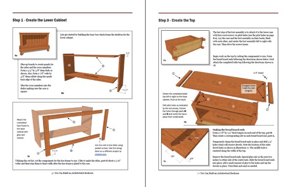 A sample page from the woodworking plan.