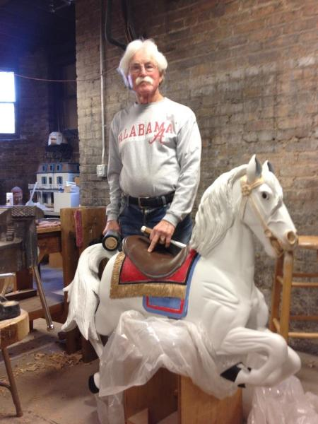 From November, 2012; my dad with his carousel horse at Ira Chaffin's shop.