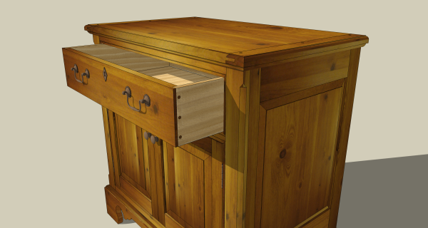 Fully detailed drawer includes correct drawer pulls.