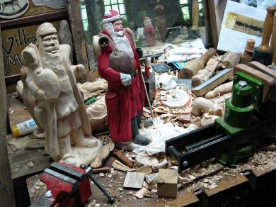 Santas on the workbench.