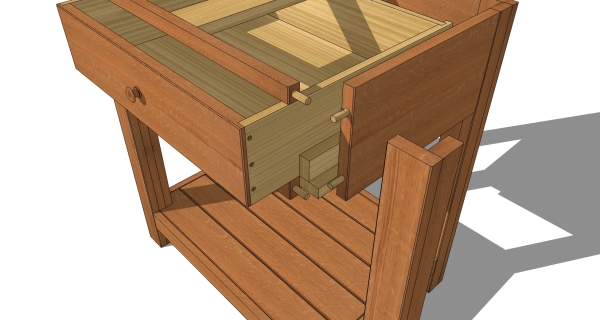 A close-up of the dowel joinery.