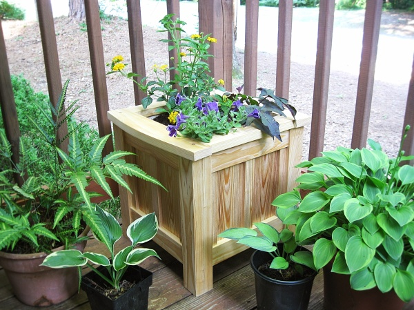 The completed garden planter in cypress.