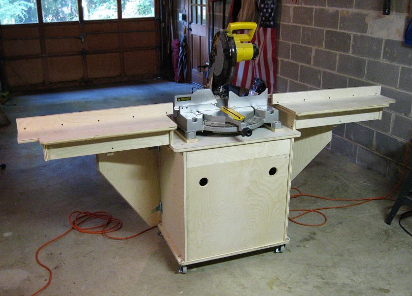 The miter saw with side tables up.