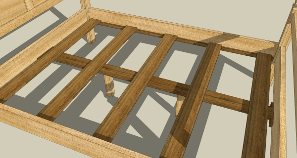 The darker bed support are  meant to mimic hardwood.