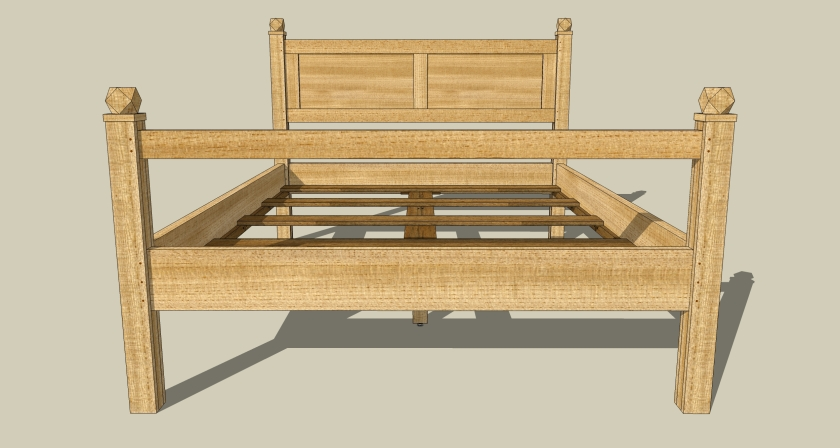 My queen bed in clear pine.