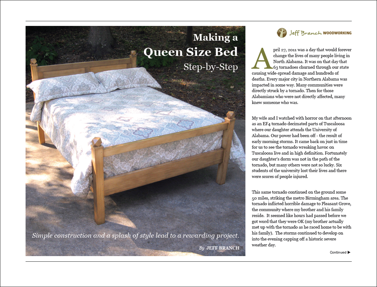free woodworking plan making a queen size bed step by step jeff branch woodworking. Black Bedroom Furniture Sets. Home Design Ideas