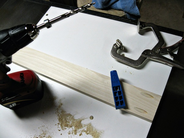 The Kreg pocket screw jig in action.