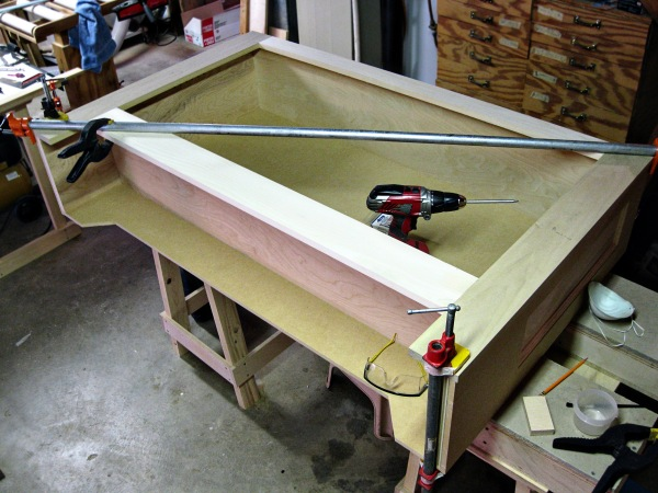 Testing the fit of the lower bookcase face frame.