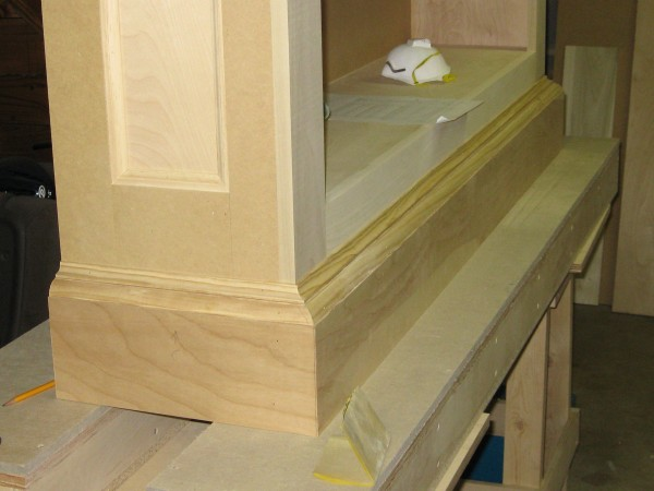 Stock moldings from The Home Depot in place.