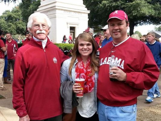 My Dad, my daughter and me near Denny Chimes.