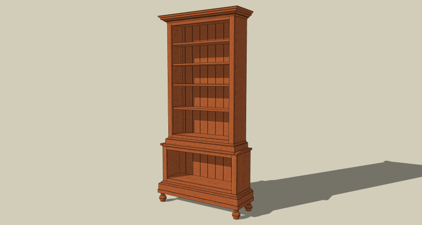 This bookcase sports a unique design.