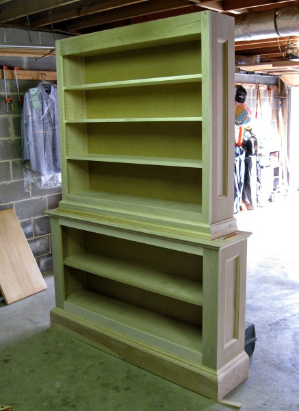 The fluorescent lights in my shop make the bookcase look green.