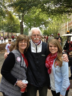 My wife, dad and daughter near the Quad.
