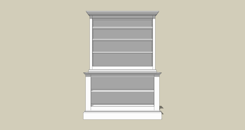The front view shows a considerably more narrow upper cabinet.