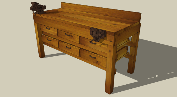 A workbench in knotty pine and rustic metal.