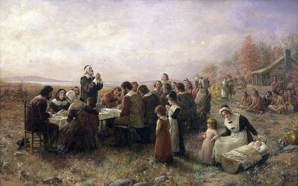 """The First Thanksgiving at Plymouth"" (1914) By Jennie A. Brownscombe (nice chair at the head of the table)"