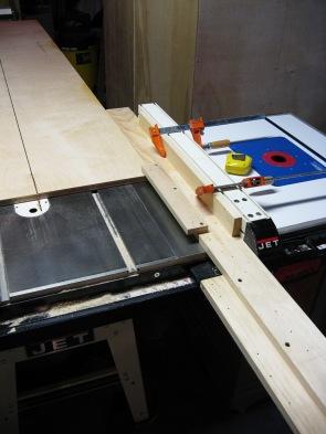 Plywood rides on ledge.