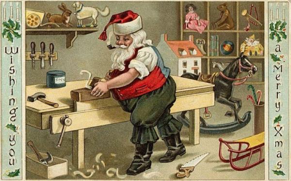 Santa working a plane