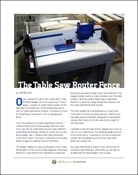 The Table Saw Router Fence Page 1