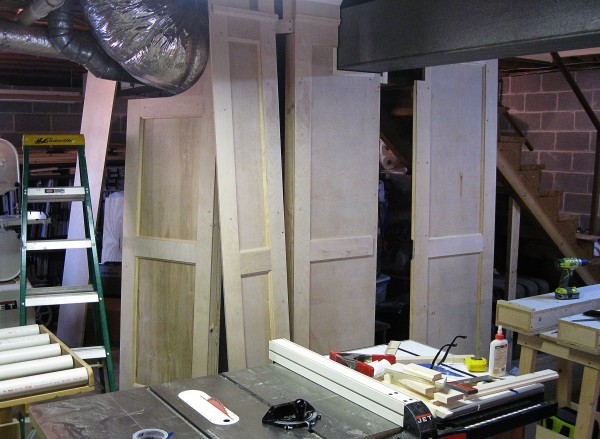 The four removable panels awaiting their turn for crown molding.