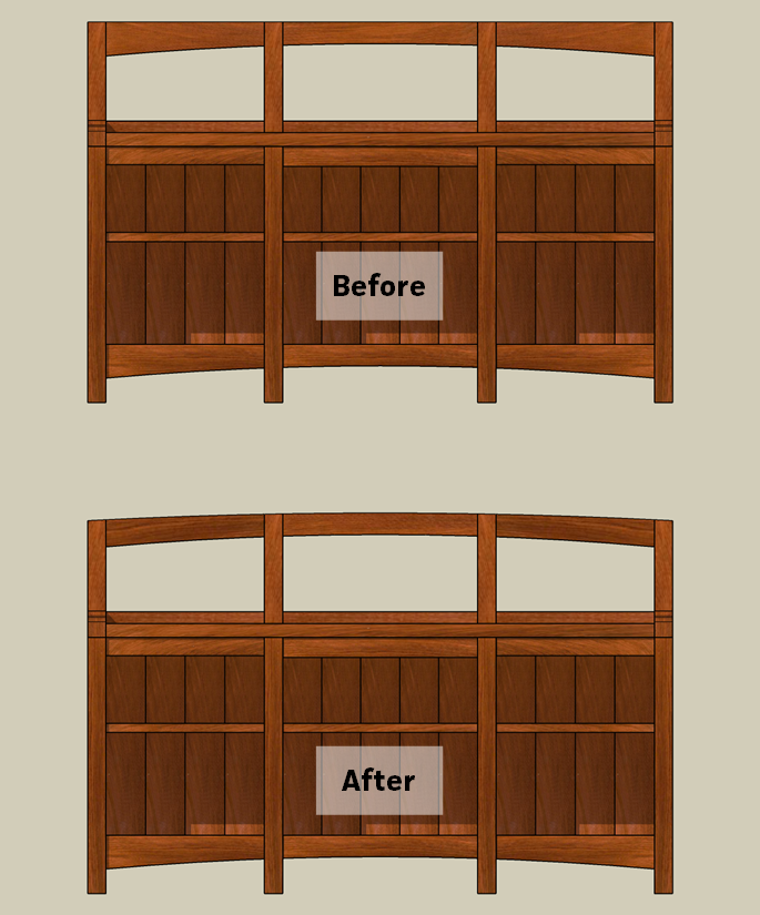 The updated window seat bookcase design.