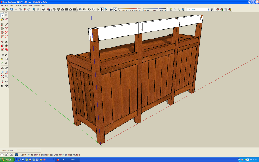 Next I create the beginning of the new crest rail: one long, rectangle .