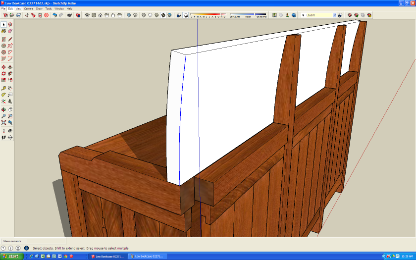 I hide the leg and crest rail, paste in place the curve, offset the curve 1 inch and using push/pull, extrude the shape shown.