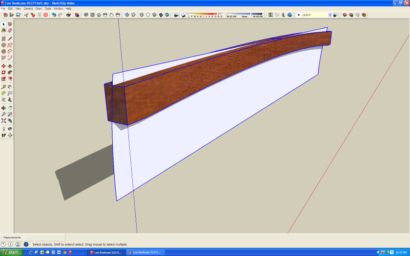 """With the """"cutter"""" in the same location, I unhide the crest rail, hide the rest of the model and prepare to cut away the unwanted part of the rail."""