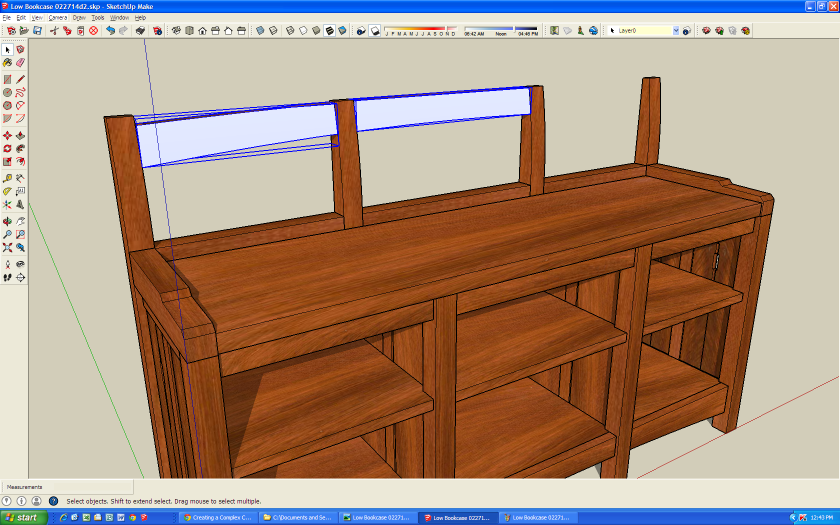 Here you see the left and middle crest rails converted into components.