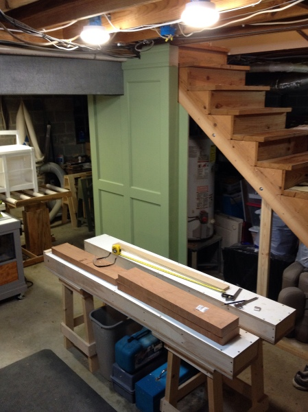 Better light for my workbench, and note the cherry boards.