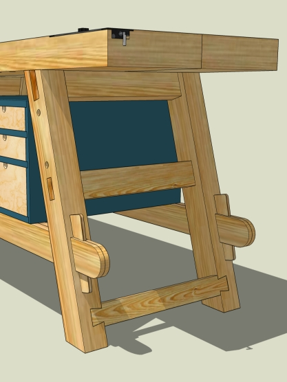 Splayed legs and stretcher joinery.