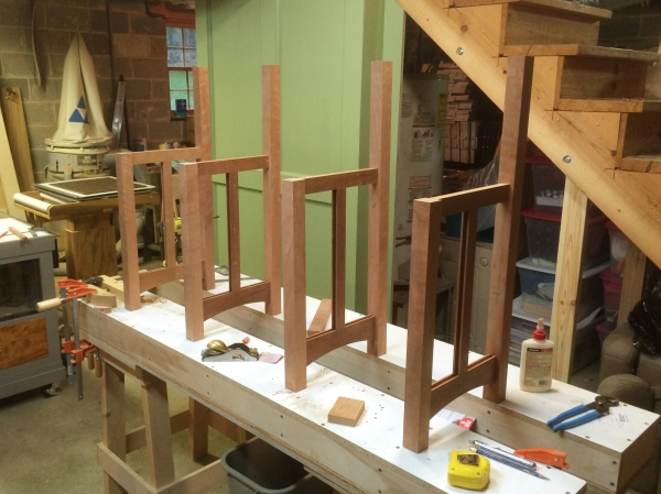 The frames for the sides and the dividers.