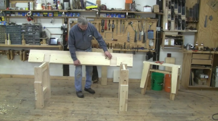 Mike building the workbench.