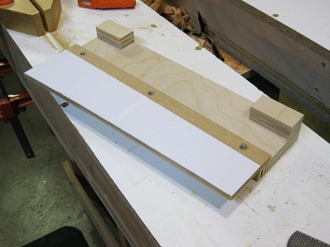 The MDF trimmed and mounted to what I am calling a plywood sled.