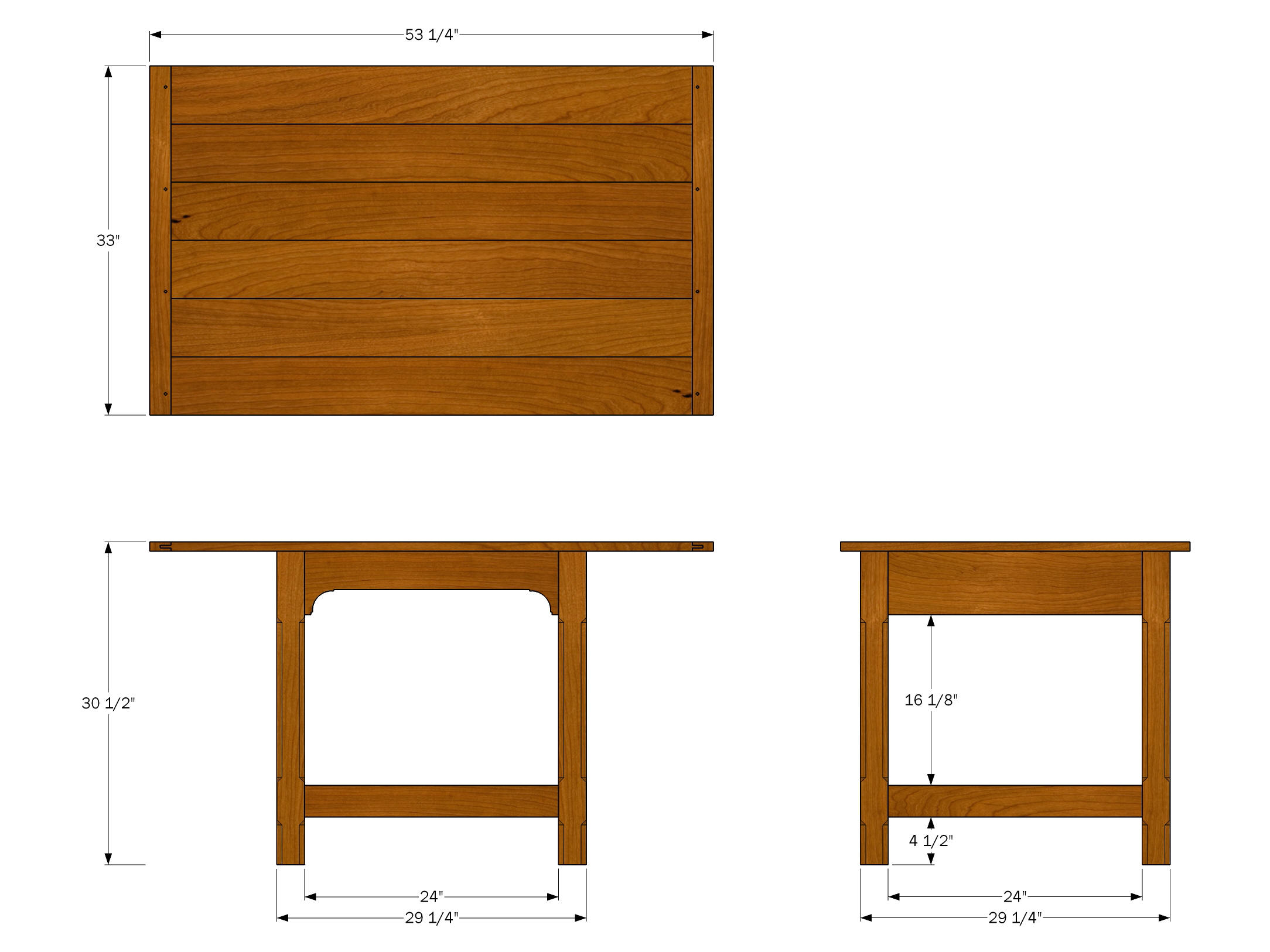 Apartment Dining Table Plan: Orthographic Views | Jeff ...
